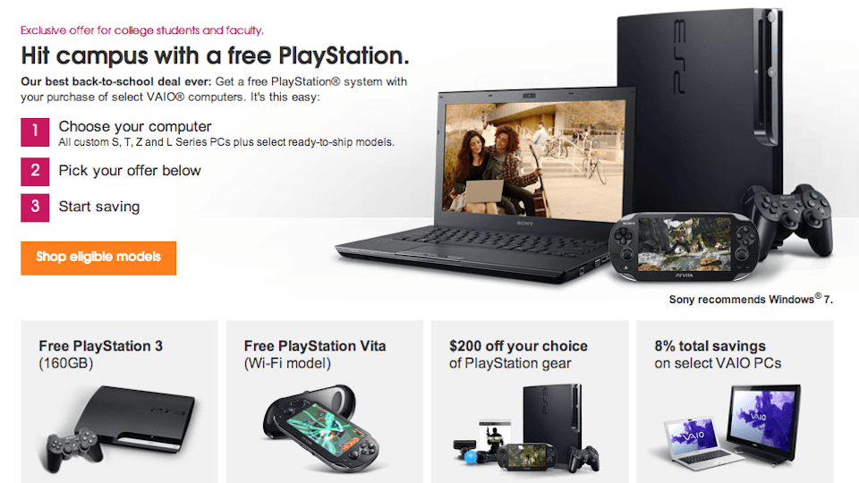 Buy a Vaio laptop, get a free PS3 or PS Vita