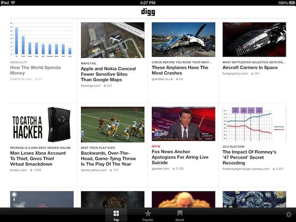 Digg Updates App for iPad