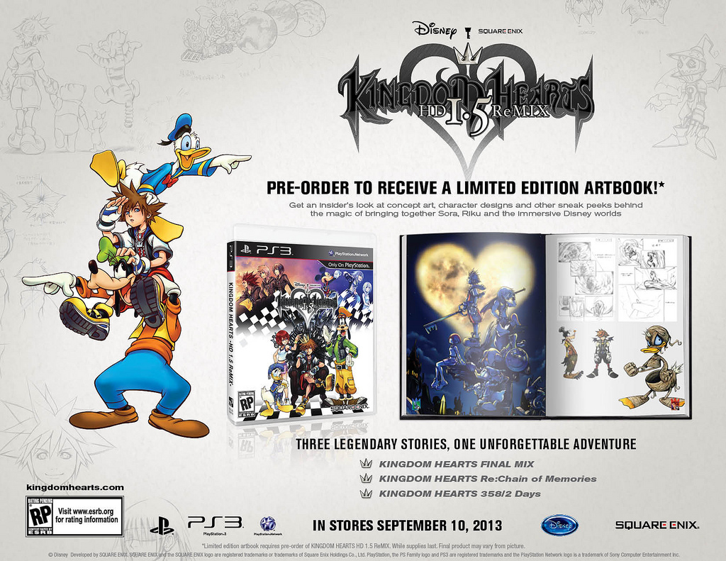 Kingdom Hearts 1.5 HD Preorder Bonus is Limited Edition Art Book