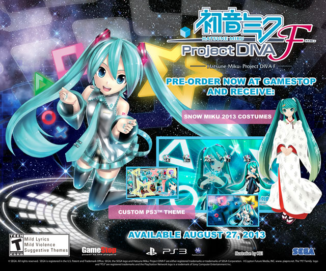 Hatsune Miku: Project Diva F Pre-Order Bonuses From GameStop