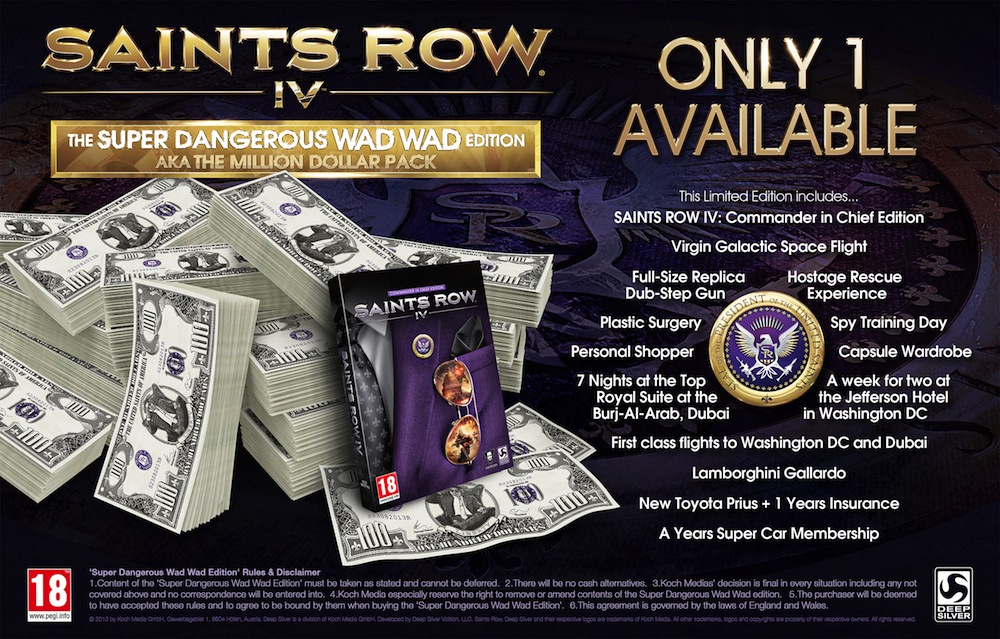 Saints Row IV Super Dangerous Wad Wad edition will cost $1 million