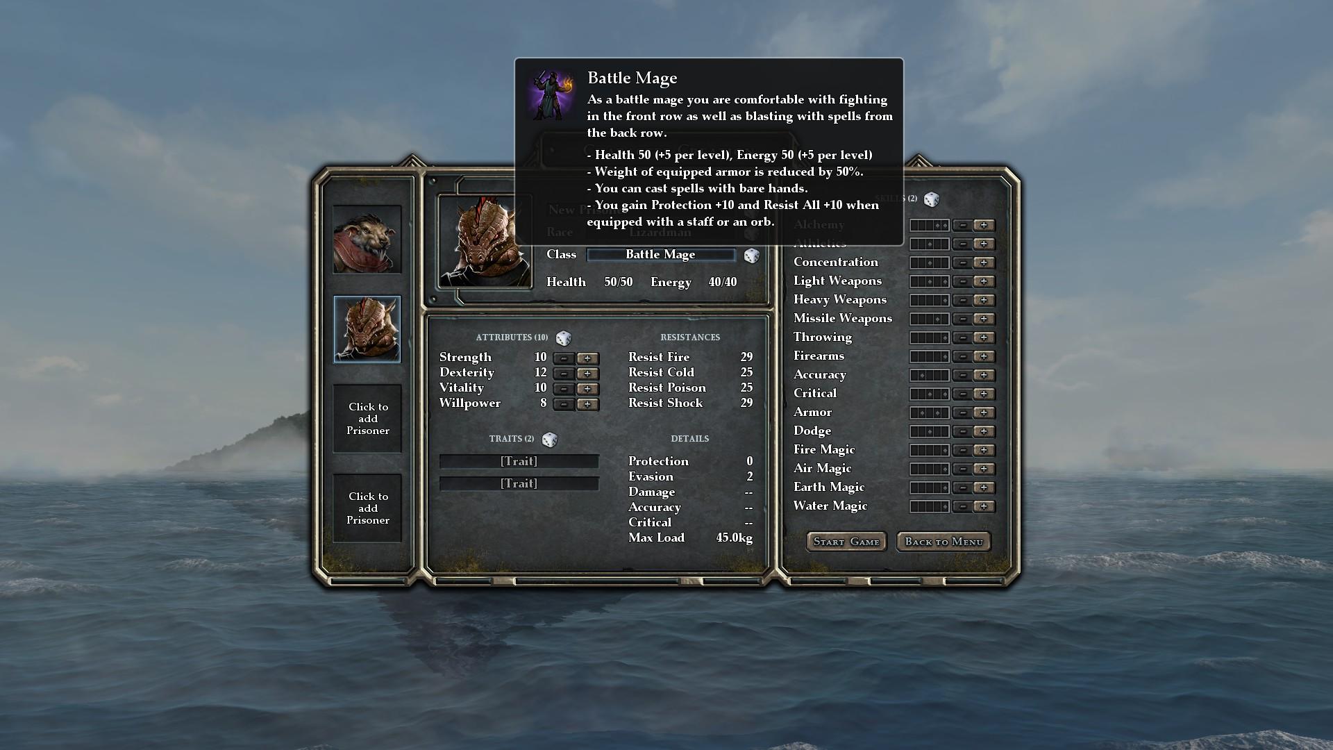 legend of grimrock 2 character creation