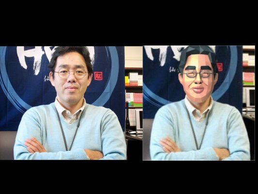 Side by side picture of Dr. Kawashima IRL and in Brain Age